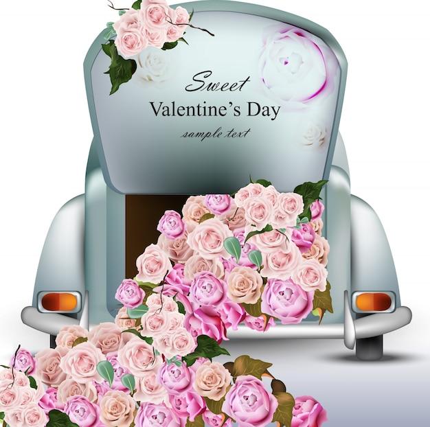 Coche retro vintage con flores color de rosa. día de san valentín vector de tarjeta. tarjeta de felicitación romántica de