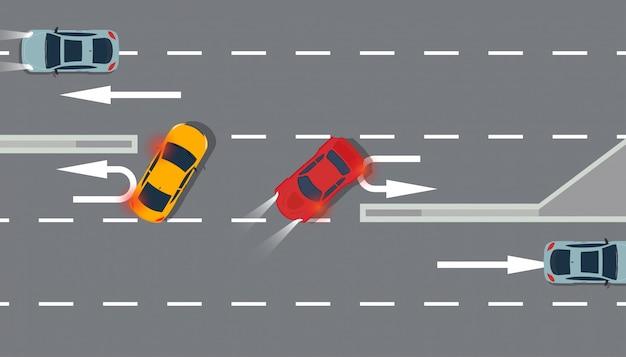 Coche rojo y amarillo vista superior ilustración tráfico carretera.