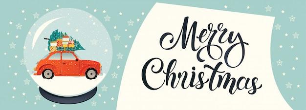 Coche rojo con árboles de navidad y cajas de regalo.