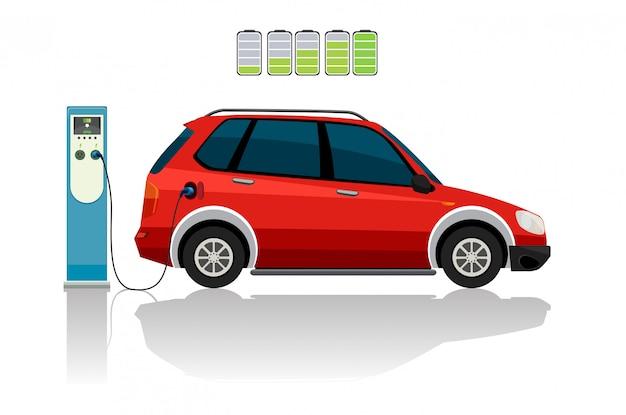 Un coche rojo eléctrico