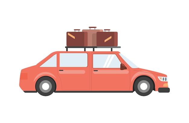Coche rojo con equipaje en la ilustración plana de vector de techo