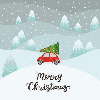 Coche rojo con fondo de árbol de navidad