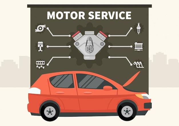 Coche rojo con infografías de vector de servicio motor.