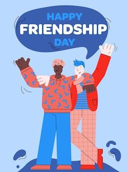 Coche de saludo feliz día de la amistad con dos hombres de dibujos animados parados juntos