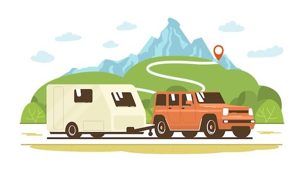 Coche suv y caravana de remolque en la carretera con el telón de fondo de un paisaje rural. ilustración de estilo plano de vector.