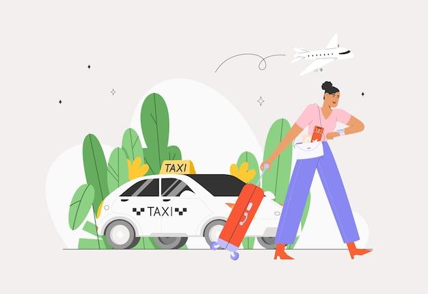 Coche de taxi plano, mujer se va de viaje