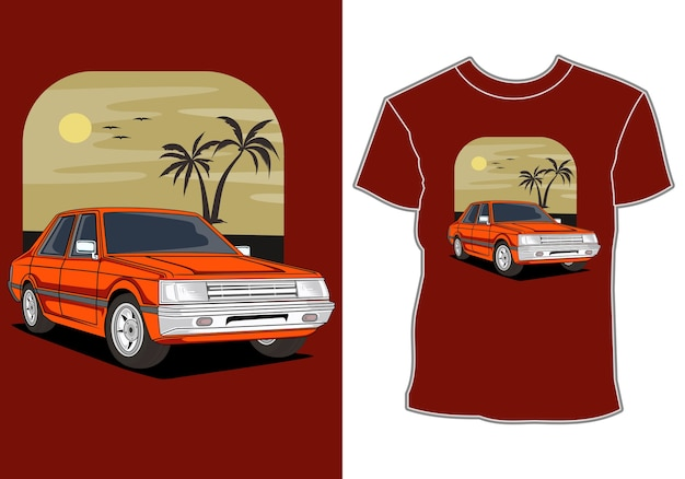 Coche verano puesta de sol playa mar naturaleza línea gráfica ilustración arte diseño de camiseta
