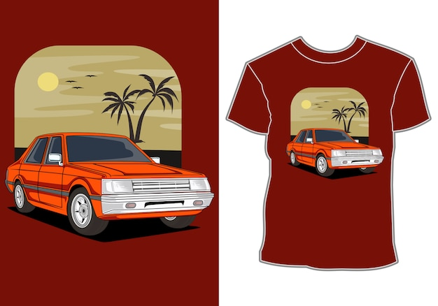 Coche verano puesta de sol playa mar naturaleza línea ilustración gráfica arte camiseta diseño
