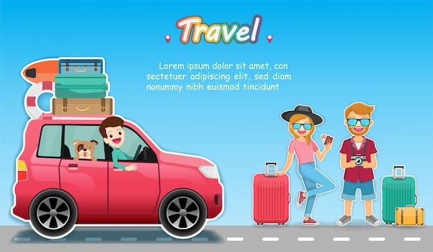 Coche y viajero viajan alrededor del concepto del mundo.