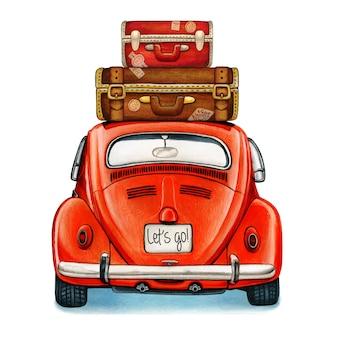 Coche vintage brillante acuarela con vista trasera del equipaje