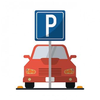 Coche en zona de aparcamiento