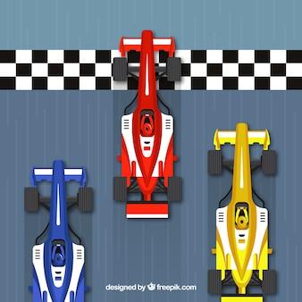 Coches de carreras fórmula 1 en la línea de meta con vista superior