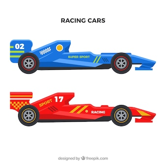 Coches de carreras de fórmula 1 modernos con diseño plano