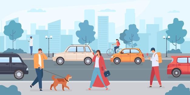 Coches en la carretera de la ciudad. gente caminando con perro y montando bicicleta en la calle. infraestructura urbana y tráfico de transporte. coche sin conductor de vector plano. ilustración carretera ciudad gente perro y bicicleta