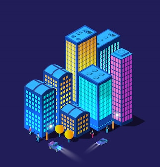 Los coches de la ciudad inteligente de noche faros 3d futuro neón ultravioleta conjunto de edificios isométricos de infraestructura urbana.