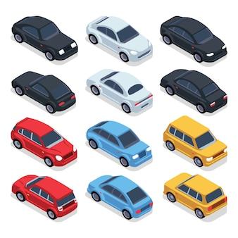 Coches isométricos 3d. conjunto de vehículos de vector de tecnología de transporte. transporte isométrico de vehículos, ilustración.