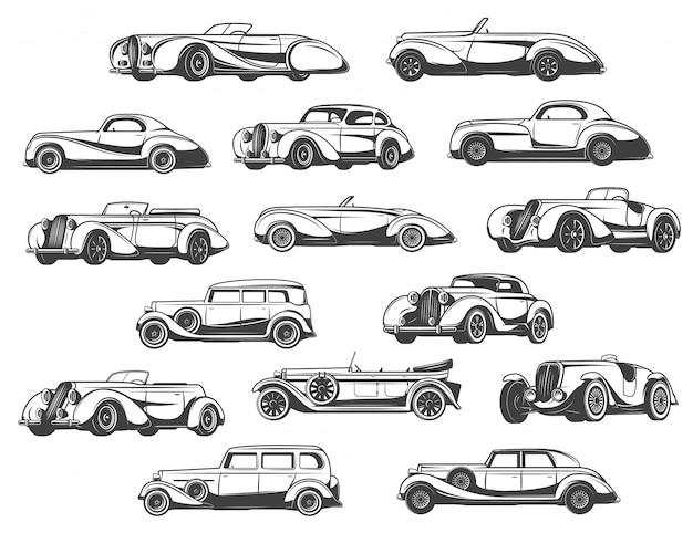 Coches retro establecen modelos clásicos antiguos de automóviles antiguos