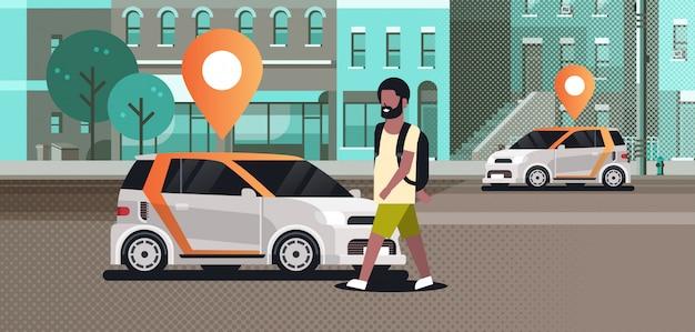 Coches con ubicación pin en la carretera en línea pedidos taxi compartir coche concepto móvil transporte hombre usando carsharing servicio moderno ciudad calle paisaje urbano fondo horizontal vector il