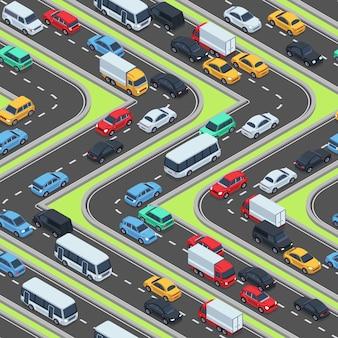 Coches urbanos de textura perfecta. carreteras isométricas y tráfico vehicular. patrón sin fisuras con la ciudad de transporte, ilustración vectorial