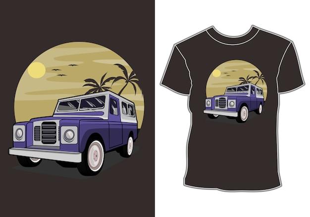 Coches de vacaciones tropicales y diseño de camiseta de vacaciones de verano al atardecer