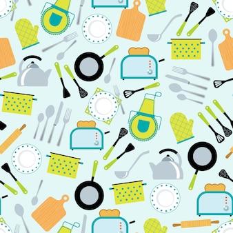 Cocina accesorios de patrones sin fisuras