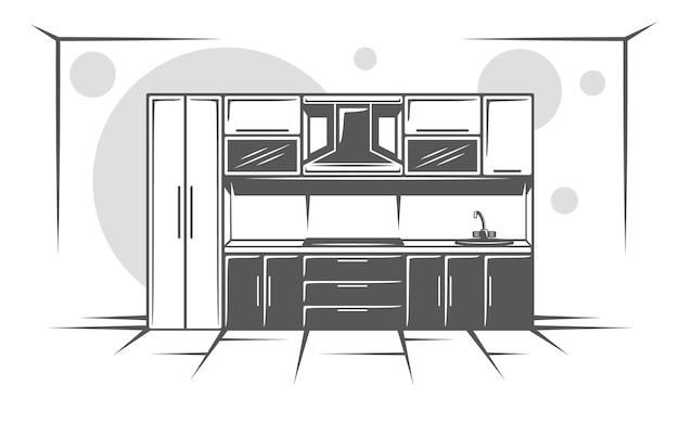 Cocina aislada sobre fondo blanco. símbolos para logotipos y emblemas de muebles.