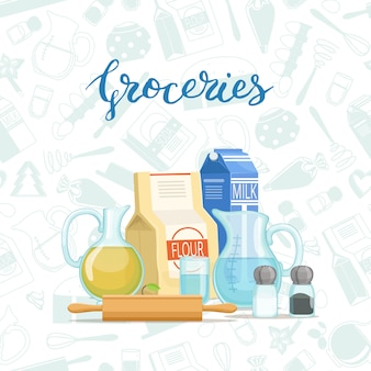 Cocina de alimentos o abarrotes apilados con letras y abarrotes estilo monocromo.