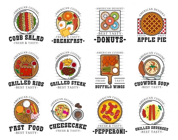 Cocina americana comida y bebida, iconos de restaurante