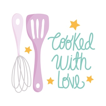 Cocina, batidora manual y espátula, ilustración de estilo de dibujos animados
