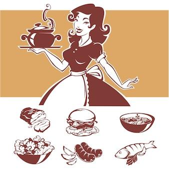 Cocina casera, ilustración de ama de casa pinup y platos de menú comunes