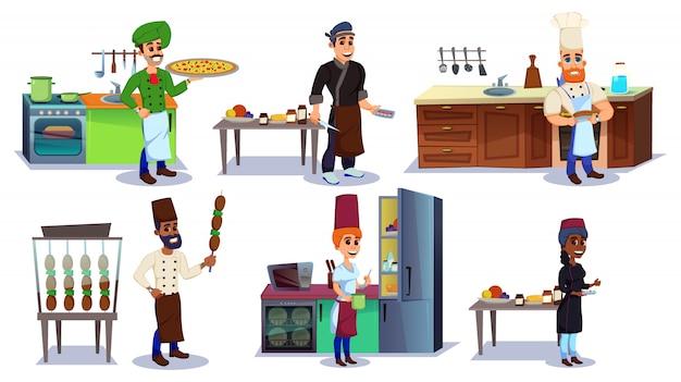 Cocina con chef personajes con plato diferente.