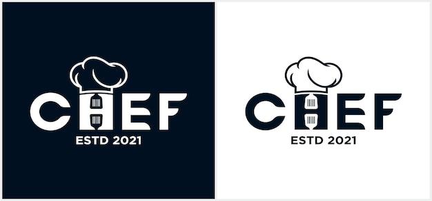 Cocina chef wordmark logo plantilla chef logo letras a mano con sombrero chef símbolo icono diseño de logotipo