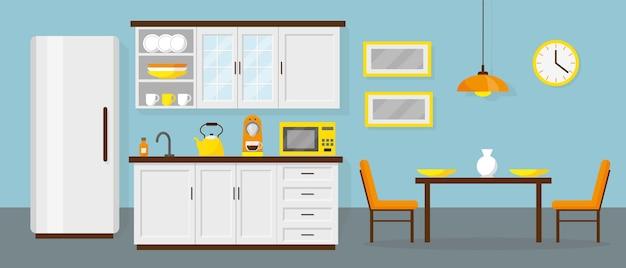Cocina y comedor en la oficina o en casa.