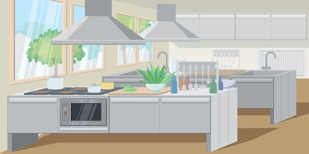 Cocina comercial con mesada equipada con electrodomésticos de gran alcance.