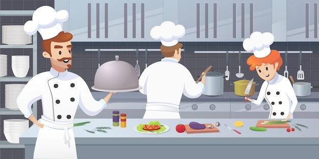 Cocina comercial con personajes de dibujos animados chef