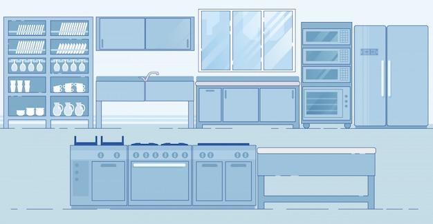 Cocina comercial con varias áreas diferentes