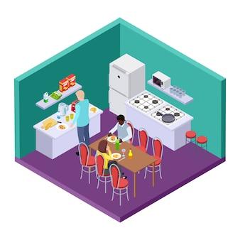 Cocina compartida en una ubicación isométrica de un albergue internacional.