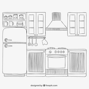 Cocina dibujada a mano