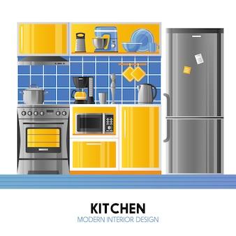 Cocina de diseño interior moderno