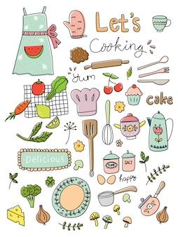 Cocina doodle conjunto ilustración vectorial
