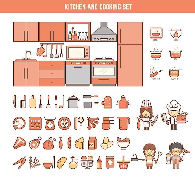 Cocina y elementos de infografía de cocina para niños