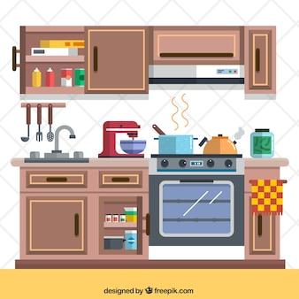 Cocina con elementos