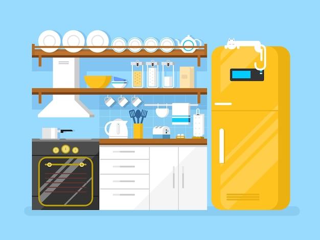 Cocina estilo plano. muebles y nevera, tostadora y plato, campana y sartén, ilustración vectorial plana