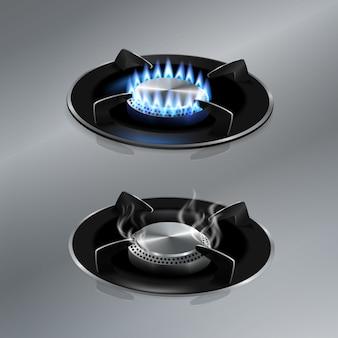 Cocina estufa de gas en el piso de acero inoxidable