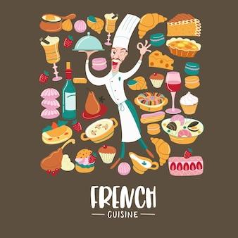 La cocina francesa conjunto de imágenes prediseñadas cocina tradicional francesa
