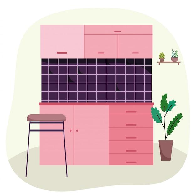 Cocina interior azulejo silla de pared armario plantas en maceta