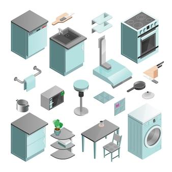 Cocina interior isométrica iconos conjunto