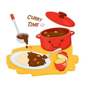 Cocina japonesa. lindo arroz al curry con sopa de miso. comida de dibujos animados