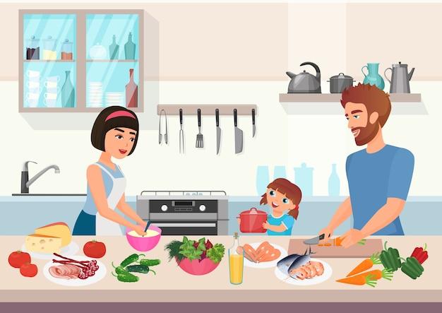 Cocina joven feliz de la familia. niño padre, madre e hija cocinan platos en dibujos animados de cocina.