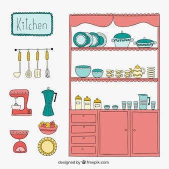 Cocina linda en estilo dibujado a mano